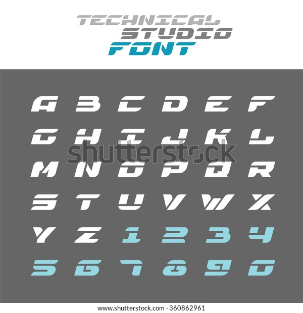 Tech Letters Stencil Font Wide Bold Lagerillustration 360862961