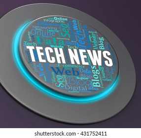 Tech News Showing Push Button And Switch 3d Rendering