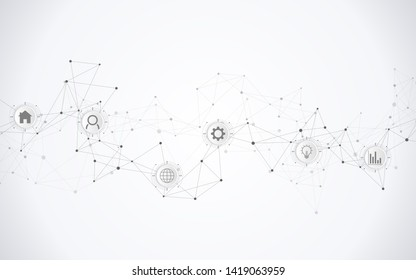 Technical abstract background with connecting dots and lines. Digital technology and communication concept with flat icons