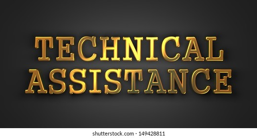 Technical Assistance. Gold Text on Dark Background. Business Concept. 3D Render.