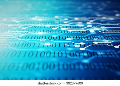 Technical background with binary code