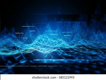 technical Data Communication visuals abstract, 3D Illustration