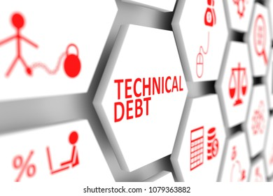Technical debt concept cell blurred background 3d illustration