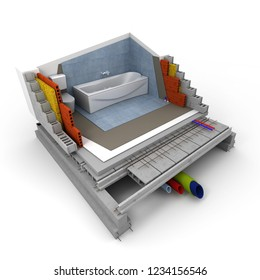 Technical details of a bathroom construction 3D rendering