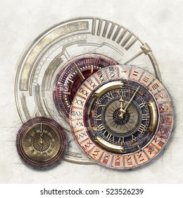 Technical and graphic elements and Timer, 3D illustration