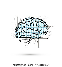 Technical hemisphere of human brain, concept illustration