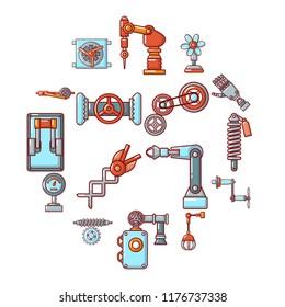 Technical mechanisms icons set. Cartoon illustration of 16 technical mechanisms icons for web