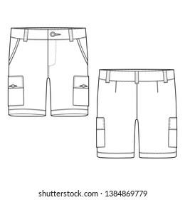 Technical sketch cargo shorts pants design template. Cargo Pants. Fashion illustration