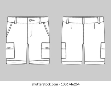 Technical sketch cargo shorts pants design template. Cargo Pants. Fashion illustration on grey background