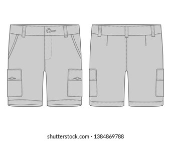 Technical sketch grey cargo shorts pants design template. Cargo Pants. Fashion illustration on white background