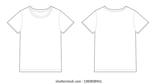 Technical sketch unisex black t-shirt design template. Front and back .