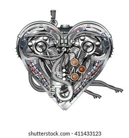 A technically mechanical heart, 3D illustration