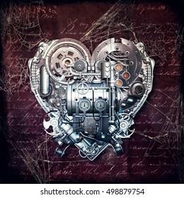 A technically mechanical heart at hard work, 3D illustration