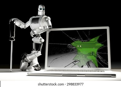 Technician with broken laptop. Technology concept. Contains clipping path.