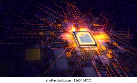A techno 3d rendering of a CPU microprocessor put diagonally in the dark violet backdrop. It is connected with shining squares and a grid of lines. The golden beams are sent in all directions.