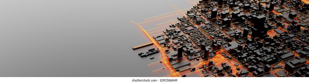 Techno mega city; urban and futuristic technology concepts, original 3d rendering