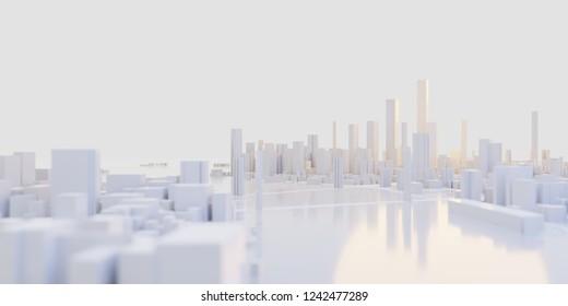 Techno-Mega-Stadt; urbane und futuristische Technologiekonzepte, originale 3D-Darstellung
