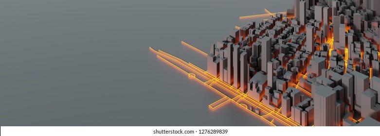 Techno-Mega-Stadt; urbane und futuristische Technologiekonzepte, 3D-Renderinggrafik