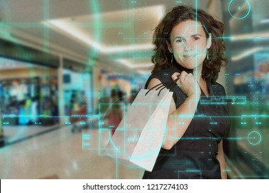 Technological screen studying a female shopper