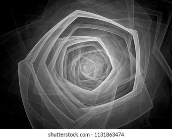 Technological singularity effect, computer generated abstract intensity map, black and white, 3D rendering