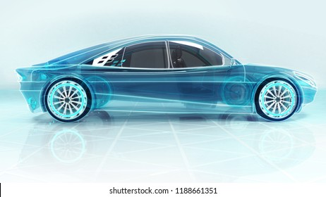 technological study of new progressive car in side view, 3D conceptual rendering, my own car design