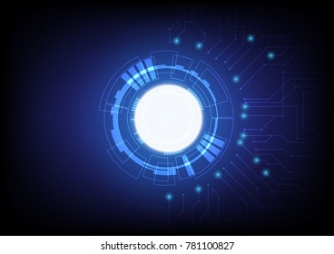 Technology abstract background with circuit board and flare balls, communication and innovation concept,  illustration.