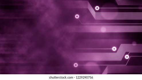 Technology Background, Computer future linien creative circuit mauve pink