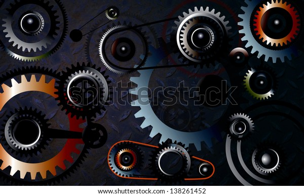 Technology background with metal gears and cogs wheels