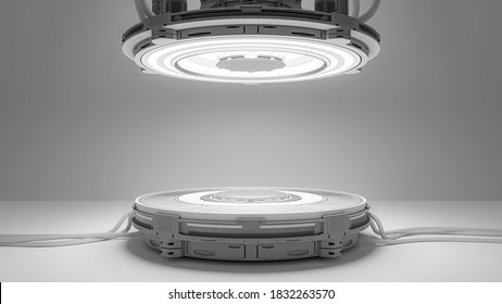 Technology Background. Power podium empty stage. Sci-fi  idea concept. Technological elements innovation background, 3D Render.