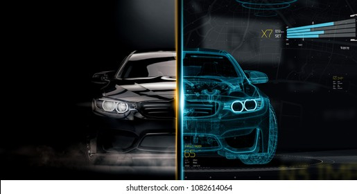 The technology behind modern cars - futuristic concept (wireframe frontal intersection) - 3d illustration