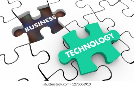 Technology in Business Puzzle Piece Hole 3d Illustration