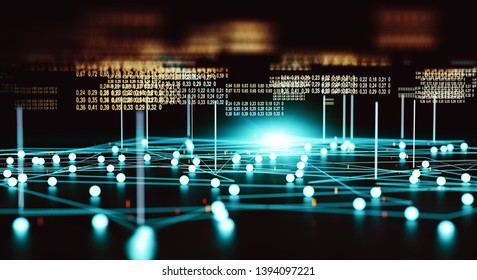 Technology and communication for analytics and data management in internet.3d illustration.Big data and computing tools abstract background