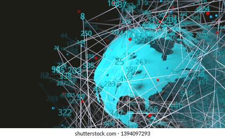 Technology and communication for analytics and data management in internet.3d illustration.World map and computer tools for cybersecurity.