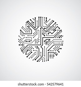 Technology communication luminescent cybernetic element. abstract circuit board