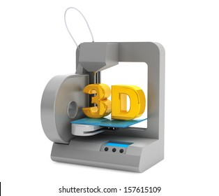 Technology concept. Modern Home 3d printer make object on a white background