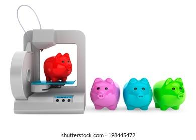 Technology concept. Modern Home 3d printer print Multicolour Piggy Banks on a white background