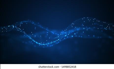 Technisches Konzept für digitale Wellen. Schöne, bewegte Punkte Textur mit leuchtenden, d.h. konzentrierten Teilchen. Cyber-Hintergrund oder Technologie.