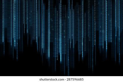 technology, future, programming and matrix - black blue binary system code background