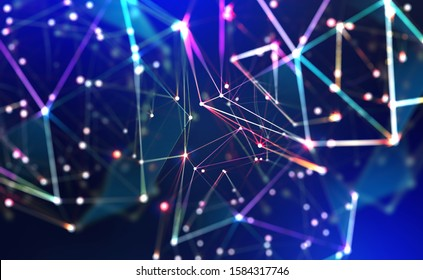 Technology, global network, movement in space and time. Festive Illumination. Abstract polygonal background with bokeh effect