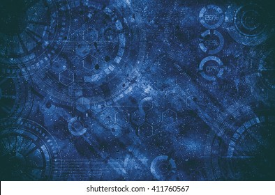 Technology grunge background, steam punk elements, cogs, gears, gearweels and HUD mechanism machinery elements with old blue rusty metal colors, dust and dirt. Steampunk metal ferruginous pattern