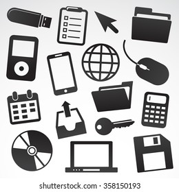 office vector table different objects stock vector royalty free Office Employee Icon technology icon set