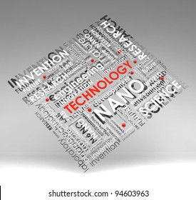 technology info-text (cloud), illustration with  scientific research terms on gray background