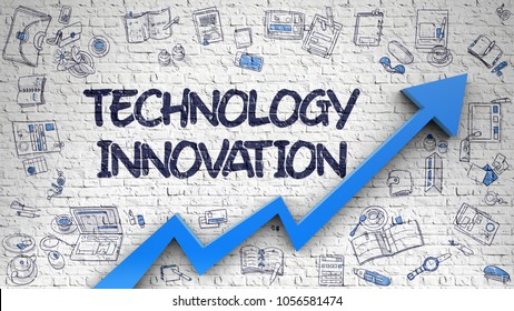 Technology Innovation Drawn on White Brick Wall. Illustration with Doodle Design Icons. White Wall with Technology Innovation Inscription and Blue Arrow. Success Concept. 3d