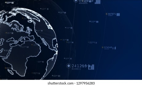 Technology network and data connection. Earth element furnished by Nasa
