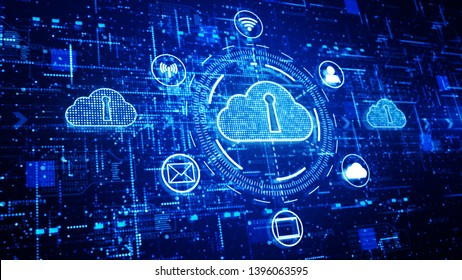 Technology network and data connection, Secure Data Network Digital Cloud Computing, Cyber Security Concept