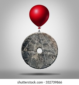 Technology progress and invention revolution,symbol as an early stone wheel being lifted by a balloon as a modernization metaphor for advancing innovation as an icon for business evolution.