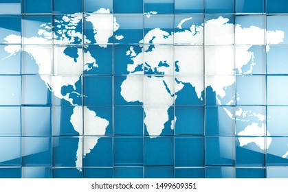 Technology and science background with world map.3d illustration.Cyberspace and internet concept and blue and white map