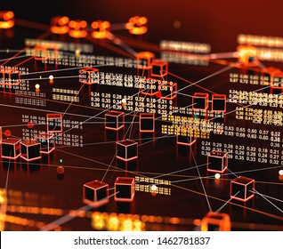 Technology and science background.Computer science engineering and block chain concept.Big data and communication. Internet and data analysis on the web.3d illustration