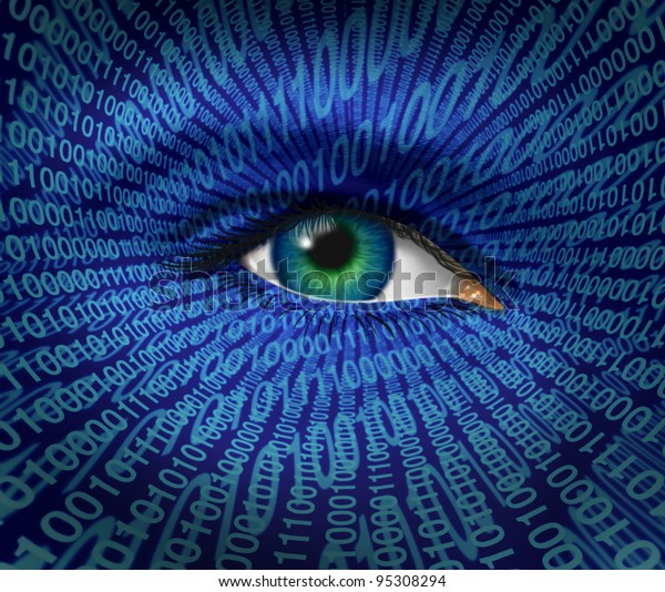 Technology security and Internet safety for privacy as a human eye and digital binary code for surveillance of hackers or hacking cyber criminals for prohibited access to web sites with firewalls.