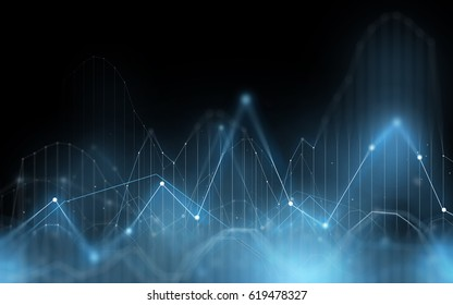 technology, statistics and cyberspace concept - illustration of blue virtual diagram chart projection over dark background